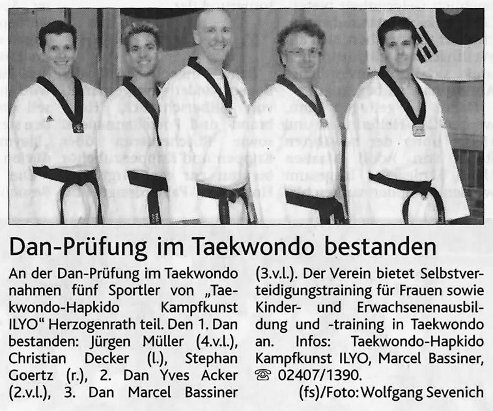 Dan Prüfung im Taekwondo bestanden