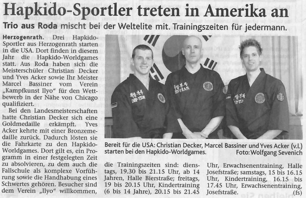 Hapkido-Sportler treten in Amerika an