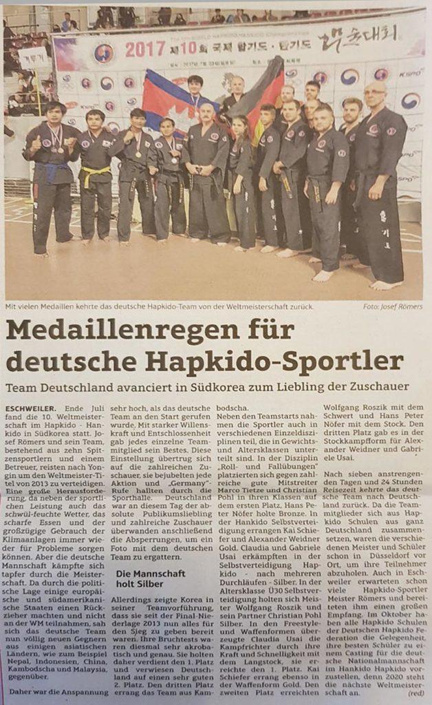 Medaillenregen für deutsche Hapkido-Sportler
