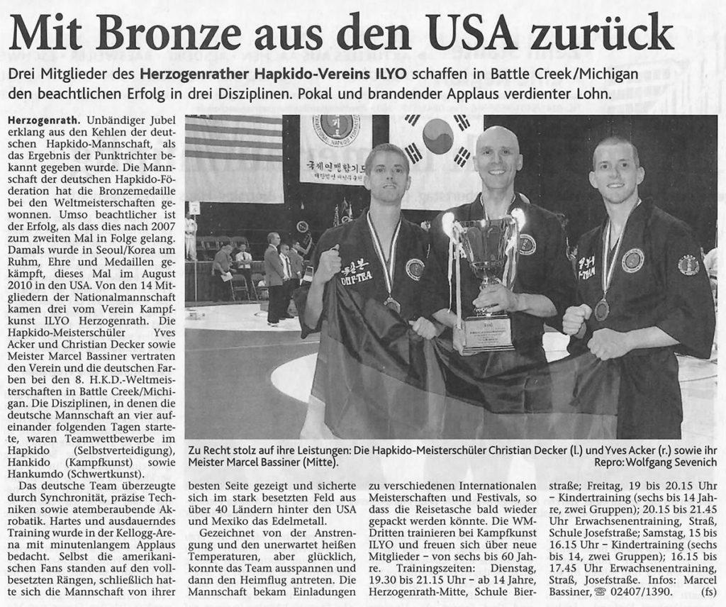 Mit Bronze aus den USA zurück