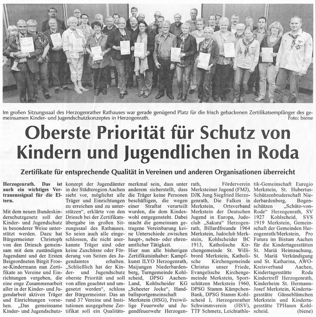 Oberste Priorität für Schutz von Kindern uns Jugendlichen in Roda