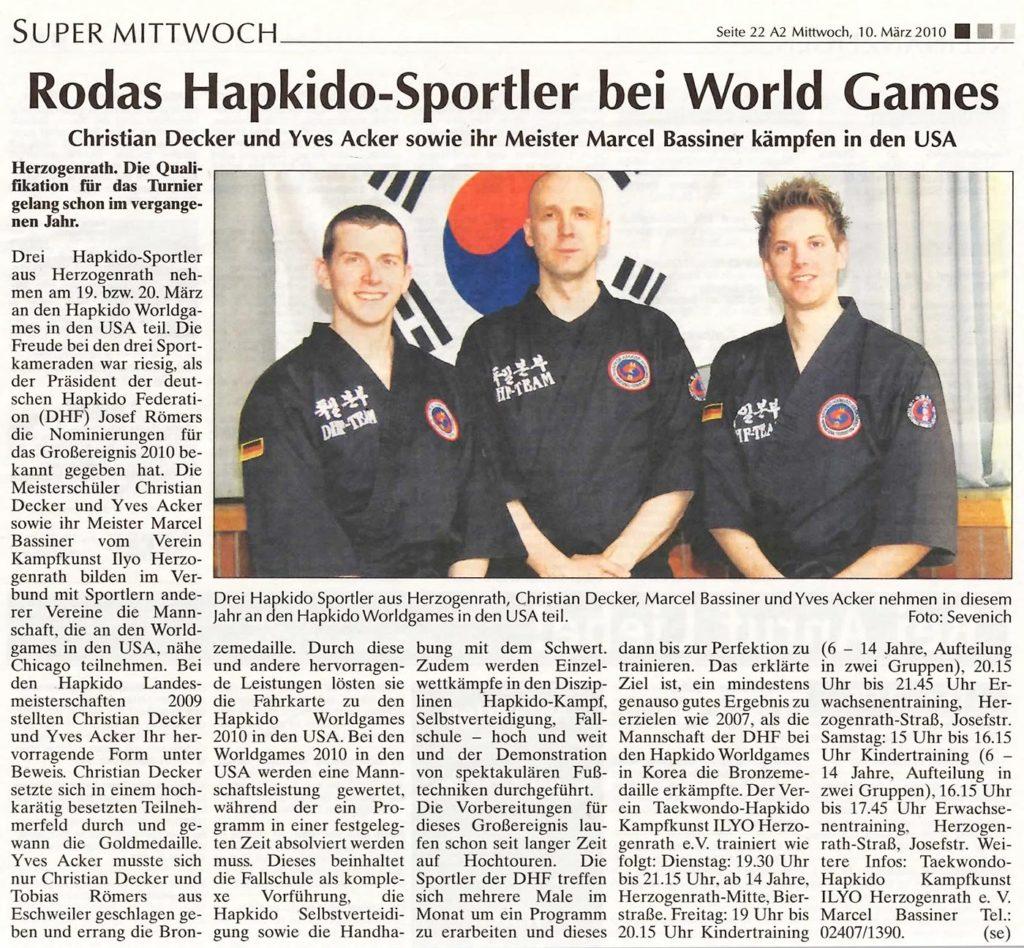 Rodas Hapkido-Sportler bei World Games
