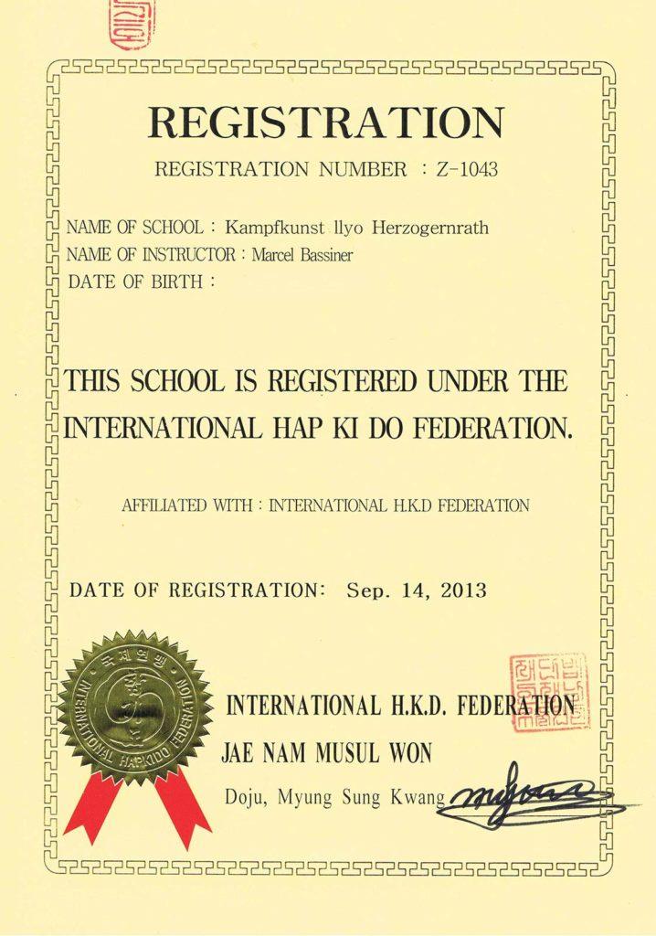 ILYO Registrierungsurkunde